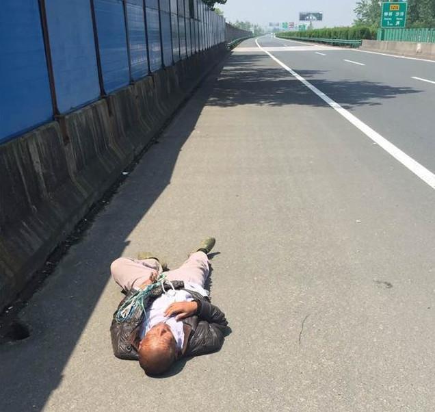 【转】北京时间      胆太大!滚滚车流身边过 老汉竟在高速公路晒太阳睡大觉 - 妙康居士 - 妙康居士~晴樵雪读的博客