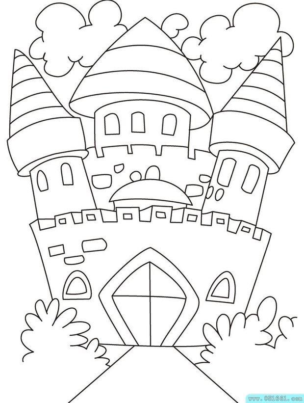 卡通城堡怎么画,