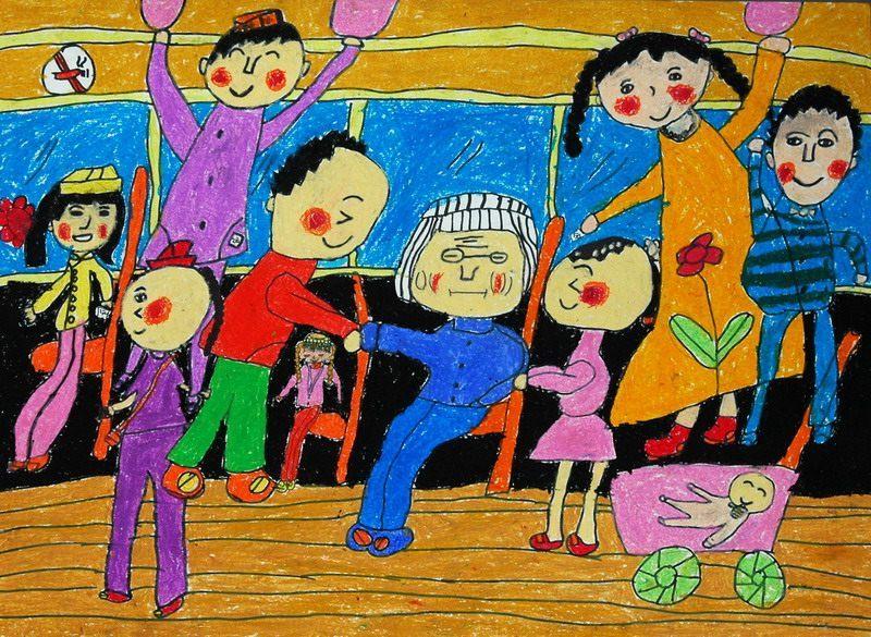 文明礼仪让座儿童画