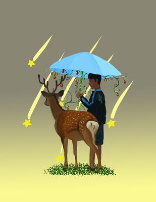求动漫男孩撑伞头像!