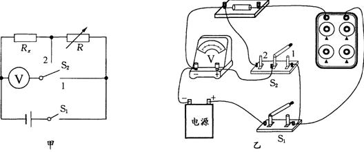 学生用电压表(0~6v),电阻箱r(0~9999Ω 5a),开关s1和s2,导线若干.