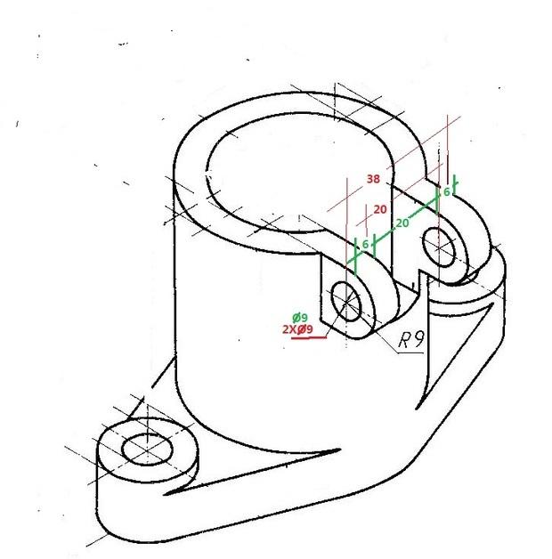 机械制图耳板标注问题