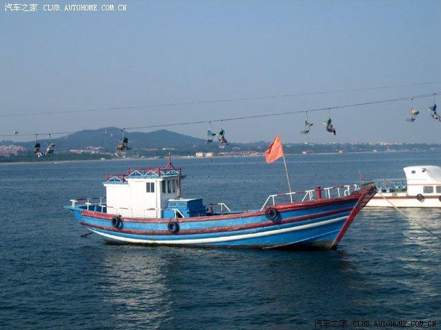 近望南戴河海域,渔船往来,海鸥飞舞,游人如织,阳伞点点,展翅腾空的