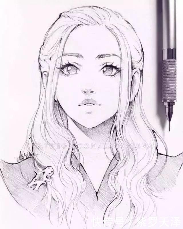 欣赏100张女生绘画线稿素材,二次元动漫,古风美女