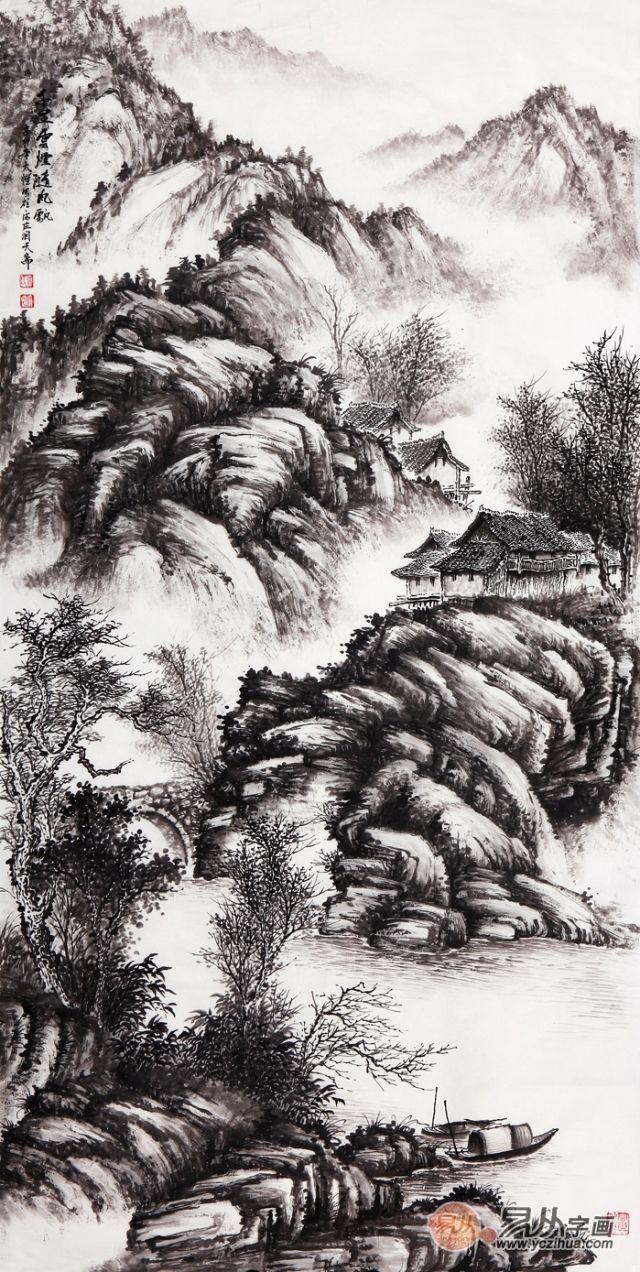 吴大恺四尺竖幅山水画作品《千里云烟随风飘》图片