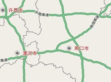 高速公路地图上标注周口位置.