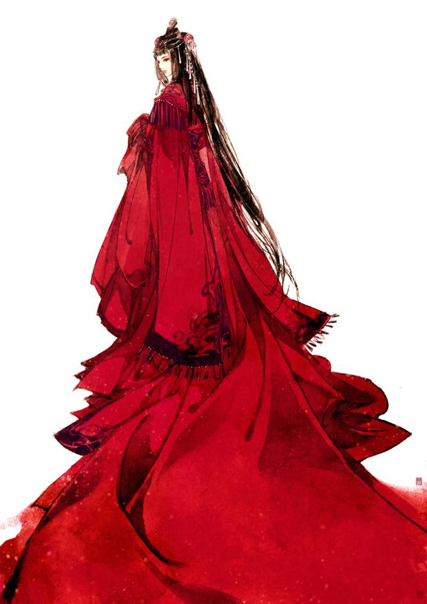 卡通红色婚纱头像