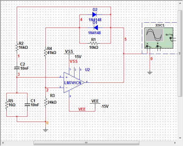 multisim10文氏电桥正弦波振荡电路仿真不出正弦波啊?