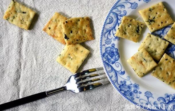 大叔家的烘培系列:海苔苏打饼干,香脆可口,营养丰富,家人爱吃