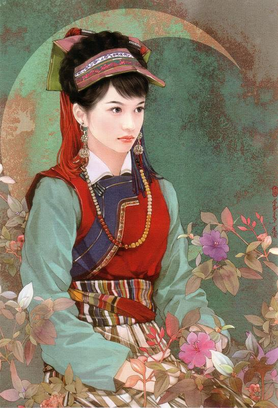 55少数民族美女图之怒族、鄂温克族、鄂伦春族、赫哲族